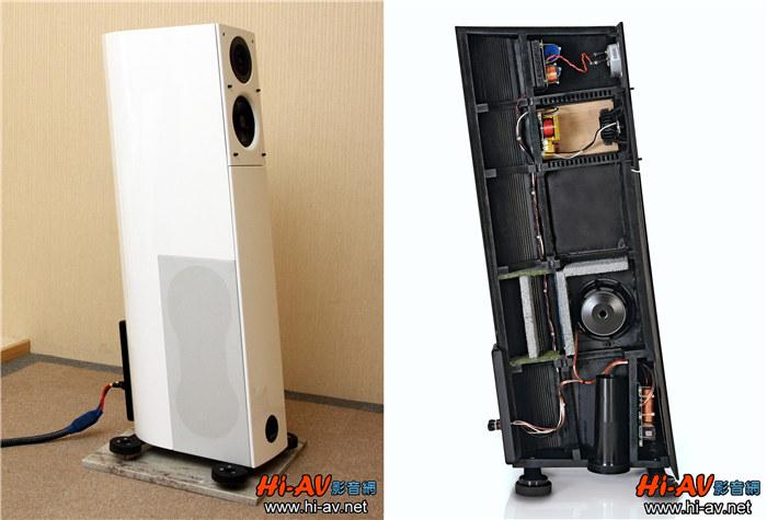 从这个角度观察,可发现Virgo 25 plus+的高音与中低音单元并非如同一般直接锁在音箱上,而是先锁固在一片厚重的金属板上再与音箱前障板结合,如此作法可多一层缓冲与隔绝,让音箱下方超低音单元所引发的振动对这两支单元的影响降低,以提升中低频以上的发声清晰度,这对于音场与音乐细节精细重现很有帮助。