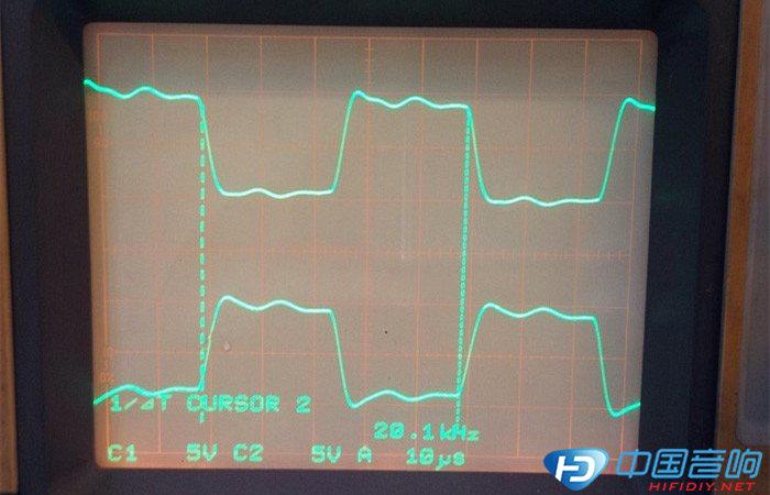 再来一些方波测试:      (电路中的反馈电容cx没有焊接)测试