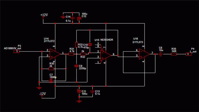 最后参考音乐传真的一款解码器的lpf图纸,直接搬过来用了.